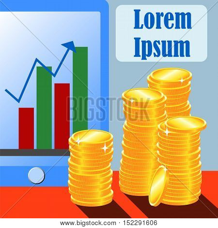 Golden coins and personal touchscreen gadget with graph and arrow. Vector illustration with place for text. Concept image for finance growth stocks Forex trading income increase year-end revenue