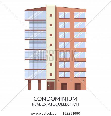 Condominium building, real estate sign in flat style. Vector illustration