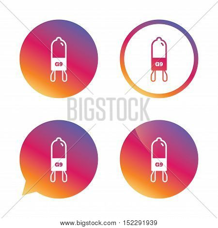 Light bulb icon. Lamp G9 socket symbol. Led or halogen light sign. Gradient buttons with flat icon. Speech bubble sign. Vector