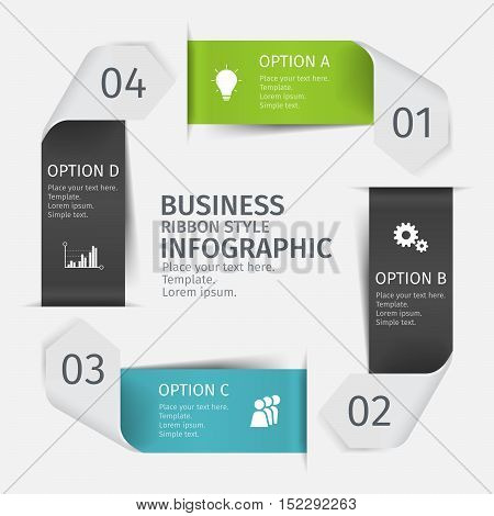 Modern infographic arrow set, ribbon style. Template for presentation, chart, graph. Vector illustration