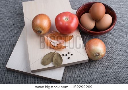 Egg, Onion, Tomato, Garlic And Spices