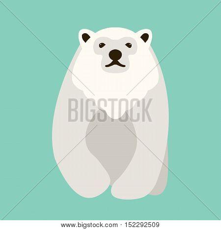 Polar bear adult illustration style Flat front