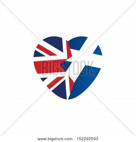 Brexit icon. British flag. Scottish flag. Broken heart symbol of imminent exit of Scotland out of the Great Britain. Vector illustration isolated object.
