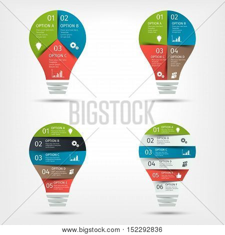 Modern colorful light bulb infographic set. Template for presentation, chart, graph. Vector illustration.