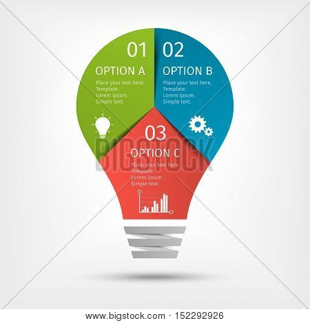 Modern light bulb infographic, 3 options. Template for presentation, chart, graph Vector illustration