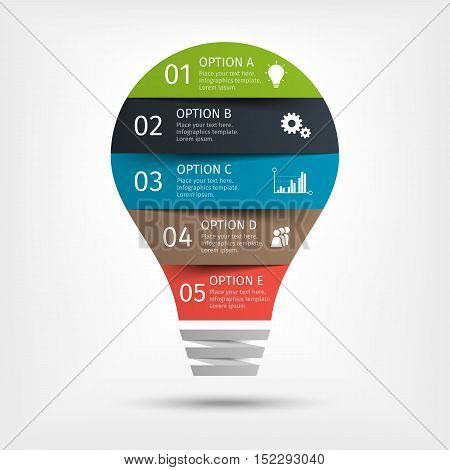 Modern light bulb infographic with symbols, 5 options. Template for presentation, chart, graph. Vector illustration