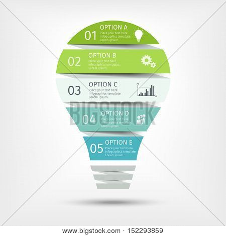 Modern light bulb infographic with shadows, 5 options. Template for presentation, chart, graph. Vector