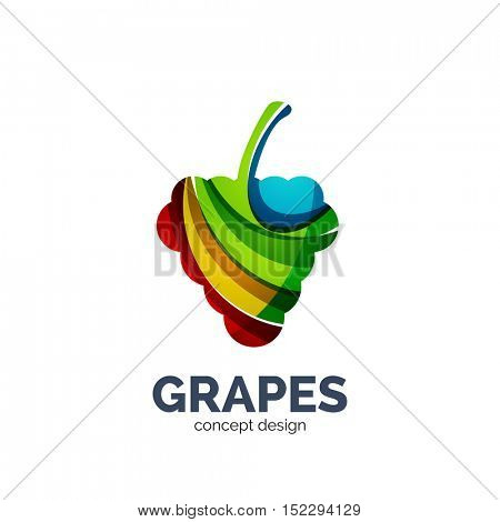 Vector grapes creative abstract fruit logo created with waves