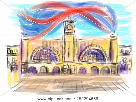 king cross station. abstract illustration on multicolor background