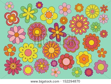 Vector illustration of the flowers design and colors from the sixties