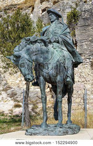 Morella Spain - October 16 2016: Equestrian statue of Ramon Cabrera at Castell de Morella. Province of Castellon Valencian Community Spain.