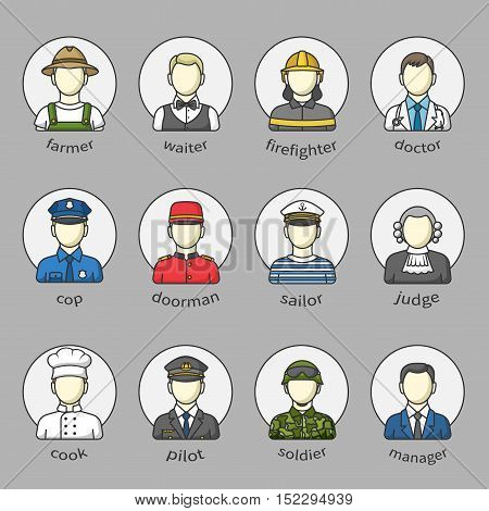 Mens icons and avatars in a circle with name. Set of different male professions.Firefighter, soldier, doctor, manager, policeman, pilot and other. Color outlined icon collection. Vector illustration.
