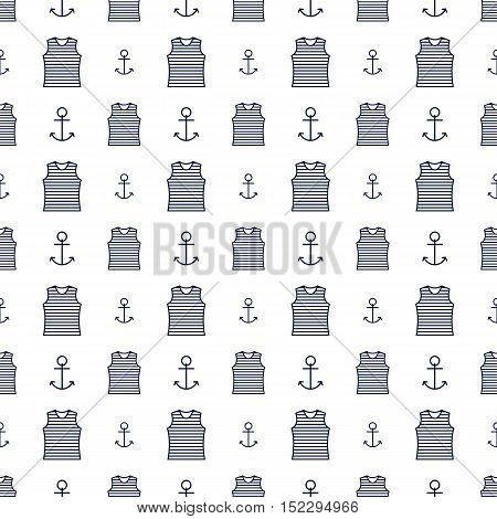 Nautical background seamless texture with a sailor striped vest and a anchor vector illustration.
