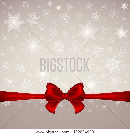 Winter Christmas Background card or banner. New Year. Red satin bow with ribbon on a background of snowflakes. Vector illustration.