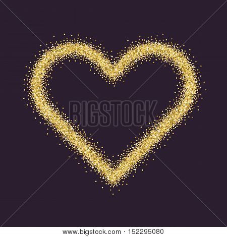 Valentine's Day symbol. Heart. Gold sparkles and glitter Vector illustration
