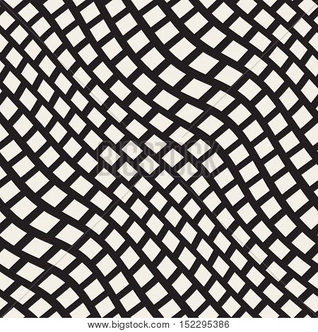 Vector Seamless Black and White Distorted Wavy Lines Pavement Pattern. Abstract Geometric Background Design