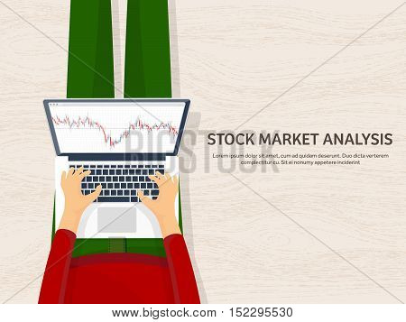 Vector illustration. Flat background. Market trade. Trading platform , account Moneymakingbusiness Analysis Investing
