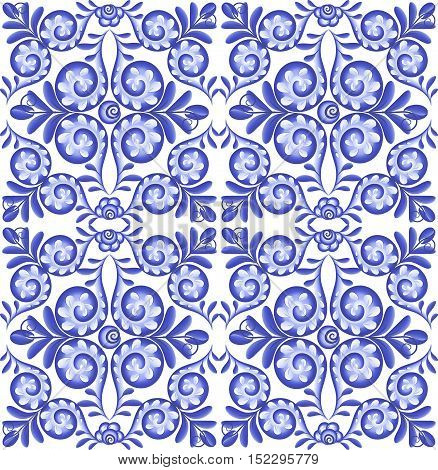 Blue vector floral square ceramics seamless pattern tile in Portuguese style