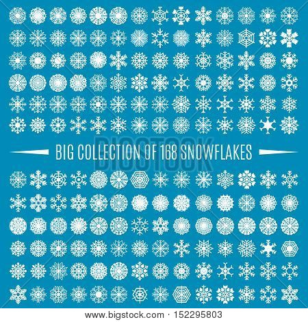 Big collection of white snowflakes isolated on a blue background. Graphic material and design elements to decorate Christmas cards backgrounds posters vector illustration.