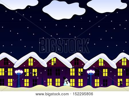 vector illustration of a night scene of a snow-covered house lights in the windows lights silhouettes snowman snow eps10