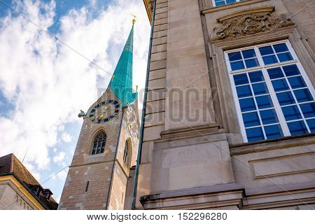 Close-up view on the tower of Fraumunster church in Zurch city in Switzerland