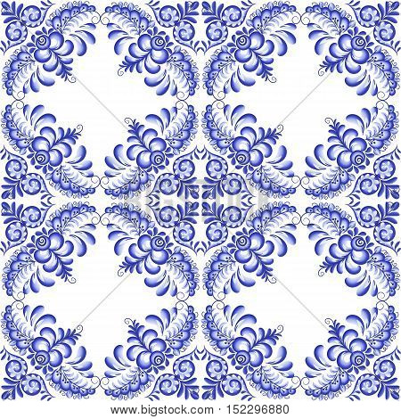 Dark blue vector floral square ceramics seamless pattern tile in Portuguese and Russian gzhel style