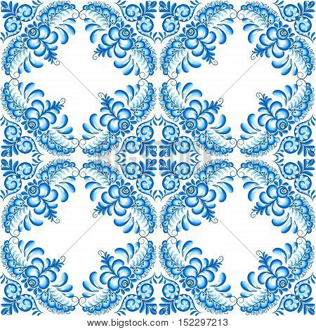Turquoise vector floral square ceramics seamless pattern tile in Portuguese and Russian gzhel style