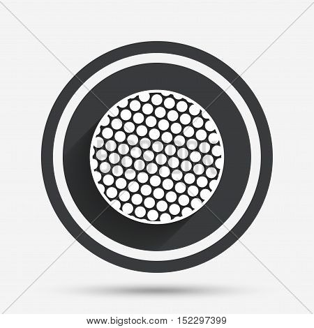 Golf ball sign icon. Sport symbol. Circle flat button with shadow and border. Vector