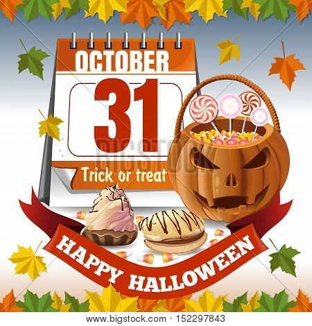 Halloween calendar and a basket in the form of a pumpkin with candies. Trick or treat. Autumn background. Vector illustration