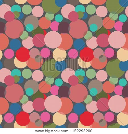 Abstract seamless pattern with circles in bright colors. Geometry pattern for fabric. Textile background. Stock vector.