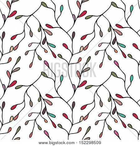 Seamless pattern with stylized twigs and leaves in pastel colors on white background. Hand drawn vector illustration.