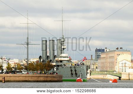 09.10.2016.Russia.Saint-Petersburg.The legendary cruiser Aurora is at the centre of the city and is a Museum.