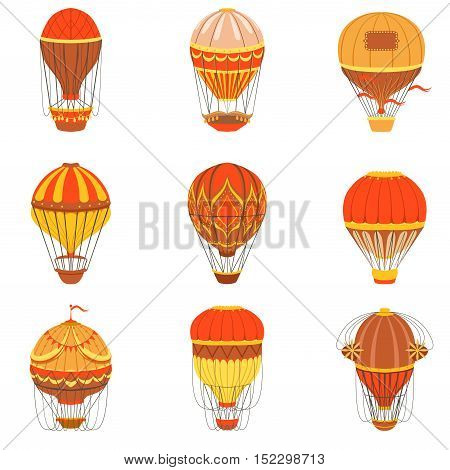 Retro Hot Air Balloons Set. Detailed Vector Drawings In Orange An Red Colors. Old-school Air Travel Transportation Design Collection.