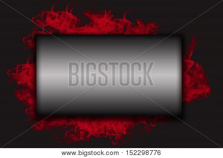 Big metal horizontal rectangle label with shadows on the red smoke and black background. The shape is ready for your comprehensive text.