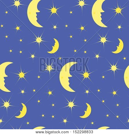 the pattern of the night sky, the month with the stars, the night sky, vector illustration