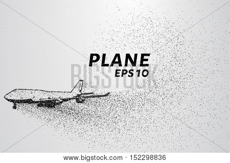 The plane of the particles. Passenger plane consists of small circles.