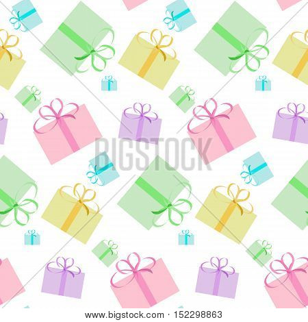 seamless pattern of colored gift boxes with bow on a white background, vector illustration