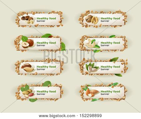 Set of decorative horizontal banners with different kinds of nuts. Vector illustration.