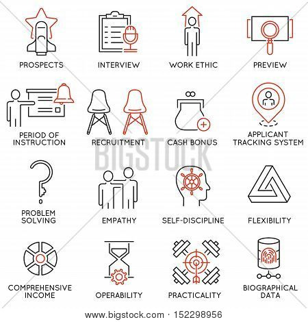 Vector set of 16 icons related to business management strategy career progress and business process. Mono line pictograms and infographics design elements