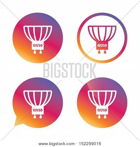 Light bulb icon. Lamp GU10 socket symbol. Led or halogen light sign. Gradient buttons with flat icon. Speech bubble sign. Vector