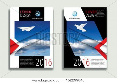 Cover Report Business Colorful  Sky Clouds Geometric pattern Design Background, Cover Magazine, Brochure Book Cover Template, flyer vector illustration