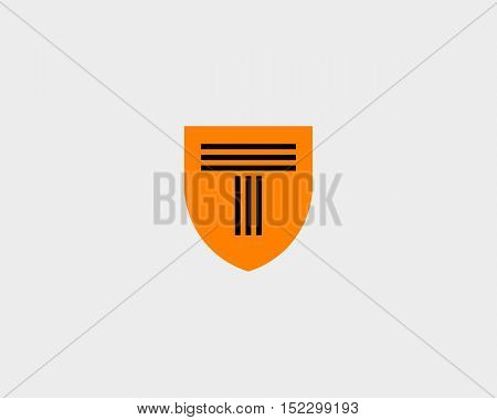 Abstract line letter T shield logo design template