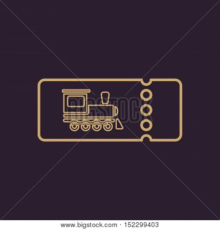 The blank train ticket icon. Travel symbol. Flat Vector illustration
