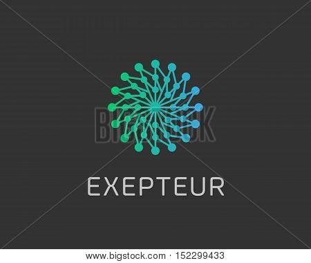 Abstract structure logo design template. Geometric dot hub swirl flower sign. Circle science medicine logotype. Universal energy tech planet star atom app vector icon.
