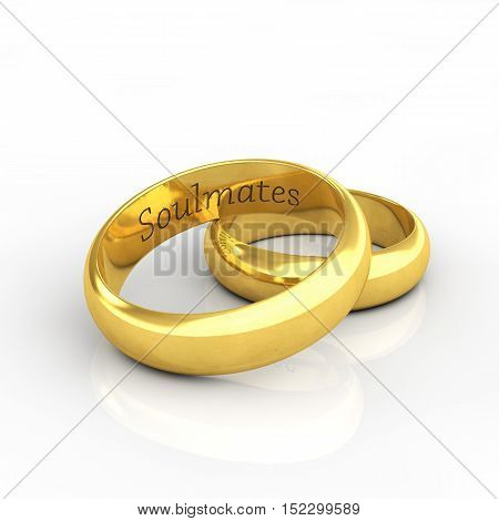 Golden wedding rings on white background engraved Soulmates  , Wedding , 3d illustration