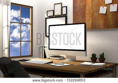 3D Rendering : illustration of modern creative workplace mockup.PC monitor on wooden table.translucent curtain and glass window with blue sky and sunlight shining from the outside.clipping path included