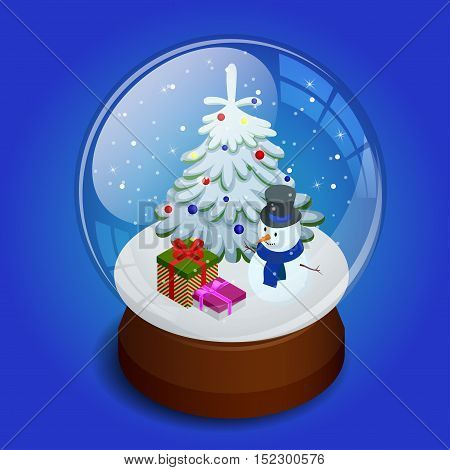 Isometric Merry christmas transparent glass ball. Merry christmas glass ball with snowman and gifts in paper boxes at snow