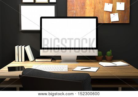 3D Rendering : illustration of modern creative workplace mockup.PC monitor on wooden table.translucent curtain and glass window with sunlight shining from the outside.clipping path included
