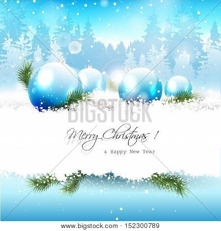 Christmas baubles in the snow - Christmas greeting card