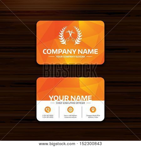 Business or visiting card template. Scissors cut hair sign icon. Hairdresser or barbershop laurel wreath symbol. Winner award. Phone, globe and pointer icons. Vector